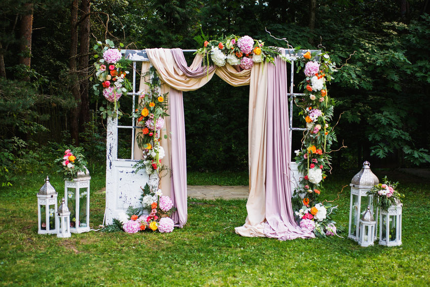 Outdoor Wedding Ceremony Arch Flowers
